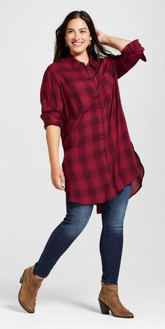 Sizes Plus sized fashion picked just for you. red buffalo plaid tunic button  up, skinny jeans, booties