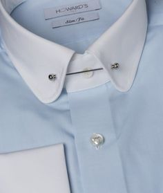 Blue Shirt White Collar, White Collared Shirts, Pin Collar Shirt, Collar Shirts, Collared Shirt Outfits, Style Costume Homme, Bespoke Shirts, Dress Shirt And Tie, African Clothing For Men