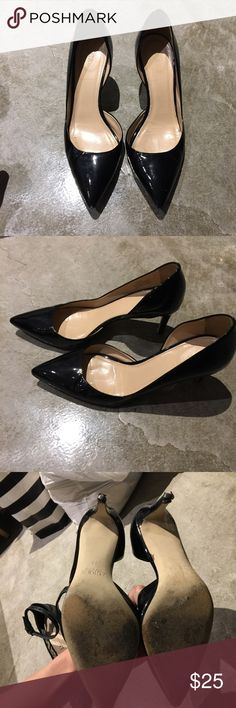 J Crew black patent dorsay pump heel bottoms are gone but can be fixed at shoe repair shop. i love this style as it's versatile and classic but don't want to toss! J. Crew Shoes Heels