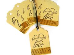 Large Tag Handmade With Love Tan with Vintage by AlwaysPrettyPaper, $4.00