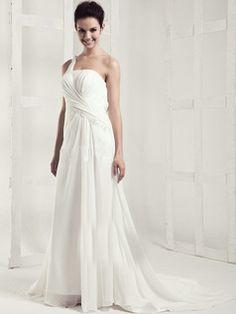 $199.59 Appealing Column Chiffon One shoulder Draped Wedding Dresses #Cheap #wedding #dresses #