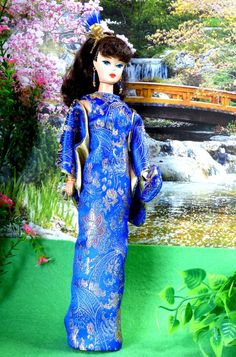OOAK Vintage Silkstone Barbie Mod Fashion 9pc CHINA BLUE Clare's Couture #ClaresCouture