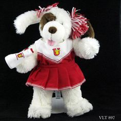 "Build A Bear Cheerleader Dog Red Outfit on White and Brown Stuffed Plush 18""  #BuildABearWorkshop"