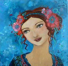 lena-melancolie (Boyama), 30x30 cm Loetitia Pillault tarafından Portrait féminin esprit romantique et onirique. Format 30x30cm en caisse américaine noire. Acrylique sur toile.