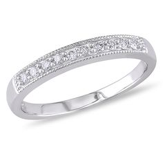 Miadora 10k White Gold 1/10ct Tdw Diamond Wedding Band (h-i, I2-i3)