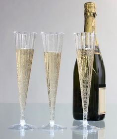 New 120 Champagne Flutes 5 oz disposable clear plastic glasses