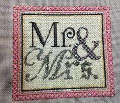 Mr&Mrs wedding needlepoint, Raymond Crawford canvas