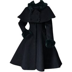 Partiss Womens Winter Faux Fur Cape Sweet Classic Lolita Overcoat... ($136) ❤ liked on Polyvore featuring outerwear, coats, faux fur capes, faux fur trench coat, fake fur cape, trench cape and faux fur coat