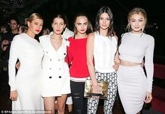 Supermodel squad: (L-R) Hailey Baldwin, Bella Hadid, Cara Delevingne, Kendall Jenner, Gigi Hadid have come from similar backgrounds and have all forged successful modelling careers