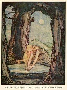 Rie Cramer ~ The Goose Girl at the Well ~ Grimm's Fairy Tales ~ 1927 ~ via    When the gray mask fell off, her golden hair broke forth.