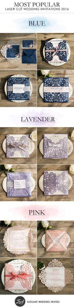 elegant laser cut wedding invitations to match with your wedding colors #blueweddinginvitations #pinkweddinginvites #purpleweddingcards