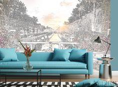 Black & White City Amsterdam River Wallpaper MURAL