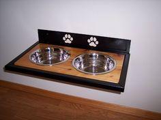 Elevated Wall mounted Dog Dish Holder by FunctionalArtWA on Etsy