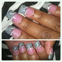 Acrylic Nails. Glitter Tip with white design.