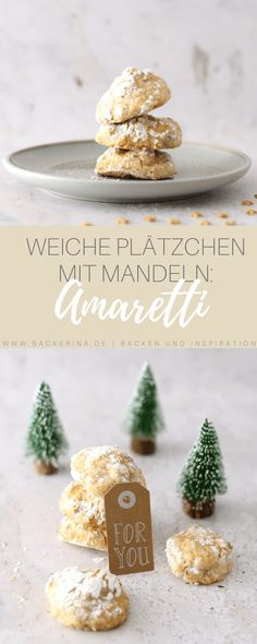 Amaretti morbi Rezept - weiche Mandelplätzchen | Bäckerina Feta, Yummy Food, Place Card Holders, Cheese, Post, Recipes, German, Dessert, Drink
