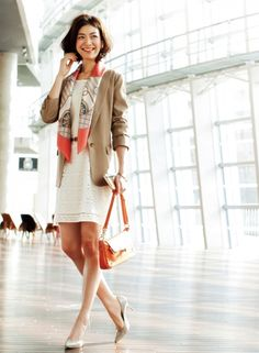 orange scarf + beige jacket + white dress