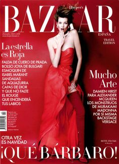 Silk chiffon bustier gown.  Harper's BAZAAR, Spain - December 20213 - COVER