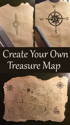 How to create your own treasure map in 2 steps. How to make a paper sheet look like an old scroll or antique paper and how to draw a pirate map. Treasure Hunt Map, Treasure Maps For Kids, Pirate Treasure Maps, Pirate Maps, Pirate Theme, Treasure Map Drawing, Treasure Island Map, Treasure Hunting, Map Crafts