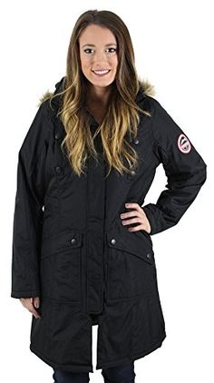 Canadian Outdoors Womens Parka Coat with Faux Fur Hood Black Size L