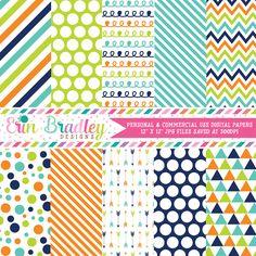 Navy Blue Orange Green Digital Paper Pack – Erin Bradley/Ink Obsession Designs