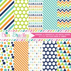 Navy Blue Orange Green Digital Paper Pack – Erin Bradley/Ink Obsession Designs