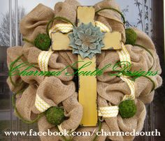 burlap cross  | Burlap Chevron Cross Wreath by CharmedSouth on Etsy
