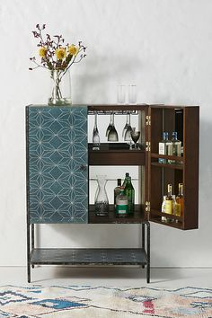 bar cabinet with aqua blue painted stencil pattern. / sfgirlbybay // interior design / home decor / inspiration Boro, Wood Bar Cabinet, Bar Cabinets, Cabinet Ideas, Modern Bar Cabinet, Entryway Cabinet, Modern Cabinets, Kitchen Cabinets, Ivar Regal