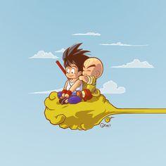 Fan-Art from the original Dragon ball Kuririn and Goku looking for a pichi pichi gal
