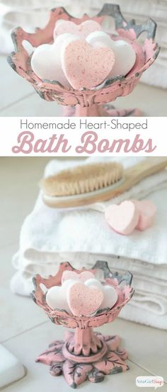 Mix up these sensual scented homemade bath bombs for Valentine's Day. Drop one in the bath for a luxurious soak that will leave your skin moisturized and fragrant. #CelebrationsOfHome Homemade Valentines, Valentine Day Crafts, Valentine Ideas, Valentine's Day Quotes, Homemade Gifts, Diy Gifts, Do It Yourself Organization, Homemade Bath Bombs, Bath Girls