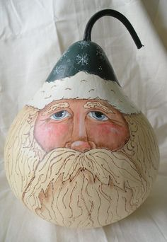 Santa+Gourd+Art | Santa Gourd Father Christmas, Christmas Snowman, Christmas Crafts, Christmas Decorations, Christmas Stuff, Xmas, Holiday Decor, Santa Face, Santa And Reindeer