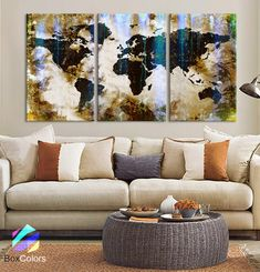 LARGE 30x 60 3 Panels Art Canvas Print World Map by BoxColors