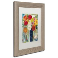 "Trademark Art 'Here Comes the Sun' Framed Painting Print Frame Color: Birch, Mat Color: White, Size: 20"" H x 16"" W x 0.5"" D"