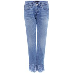 3x1 - STRAIGHT CROP FRINGE JEANS (6.580.270 VND) ❤ liked on Polyvore featuring jeans, cuffed jeans, blue jeans, cuffed cropped jeans, straight leg jeans and selvedge denim jeans