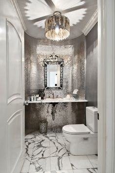 Art Deco Powder Room with Ceramic Tile, complex marble tile floors, specialty door, Venetian Gems Natasha Large Wall Mirror