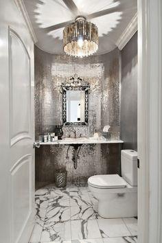 Art Deco Powder Room with Ceramic Tile, complex marble tile floors, specialty door, Venetian Gems Natasha Large Wall Mirror