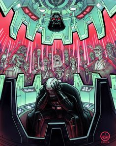 I love this image because it illustrates a theory of mine that the only time Vader has a moment's peace to remove his helmet is in the chamber. It isn't that the helmet let's him breathe so much as it protects him from the Jedi that haunt him. Think of his helmet protecting him from his past regrets much like Magneto's helmet protects him from Professor X. 50+ Epic Star Wars Art Posters