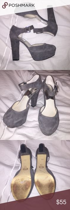 Authentic Michael Kors Pumps Authentic Michael Kors Grey Pumps with ankle strap. hardware is silver. in great condition! size 7 1/2 Michael Kors Shoes Heels