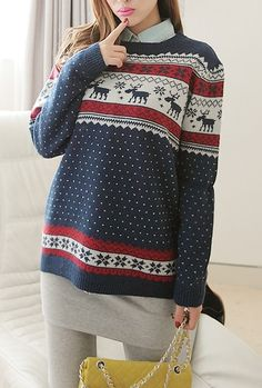 Sweaters https://sincerelysweetboutique.com/clothing/tops/sweaters.html #sweater #sweaters #sincerely-sweet-sweater - Navy Nordic Print Sweater