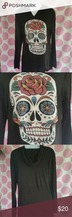 SKULL Longsleeve Hoodie Day of the Dead Skull Longsleeve with Hoodie Shirt Cool Skull Graphics include Studded Eyes  Excellent Condition  Size L  #shopmycloset #rockandrollclothing Tops Tees - Long Sleeve