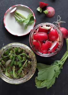 Simple Pickled Radishes & Pickled Green Beans