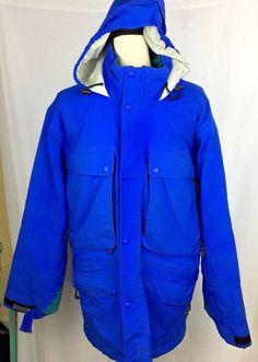 LL BEAN Jacket Sz Medium BLUE North Col Outerwear Insulated GORE TEX Hood Men  #LLBean #Parka