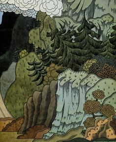 Ivan Bilibin was a Russian artist and illustrator largely inspired by Slavic mythology, Russian folklore and fairy tales. He also worked for theatre and opera, creating costumes and sce… Landscape Illustration, Children's Book Illustration, Illustrations, Landscape Art, Ivan Bilibin, Russian Folk Art, Art Graphique, Folklore, Fairy Tales