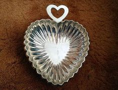 Silver Heart Shaped Bowl Candy Dish Collectible by annimae182