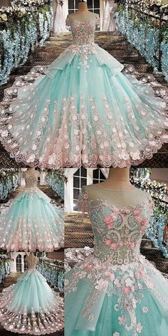 Wedding Dress Ball Gown evening dress see through back flowers green appliques lace and flowers o-neck floor lengyh vestidos de festa organza Cute Prom Dresses, Blue Wedding Dresses, 15 Dresses, Ball Dresses, Fashion Dresses, Formal Dresses, Dress Wedding, Evening Dresses, Elegant Dresses