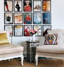 Framed magazine covers/pages.  http://www.decorpad.com/search.htm?searchType=photos&q=Modern%20Glam%20Chandelier