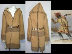 Rustic caramel tan wool blanket coat capote  Small by ForeverSexy