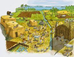 004 – La Agricultura, los Inicios – Los Sumerios. En 5000 aC., los sumerios habían desarrollado las principales técnicas agrícolas, incluyendo el cultivo intensivo de la tierra a gran escala, el monocultivo, técnicas de riego, y el uso de mano de obra especializada, particularmente a lo largo de la vía acuática ahora conocida como el canal de Shatt al-Arab, del delta de Golfo Pérsico a la confluencia de los ríos Tigris y Éufrates. La domesticación de especies silvestres: uros y muflones.