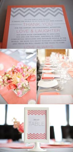 coral and gray color scheme.