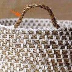 crochet basket ..cotton over jute
