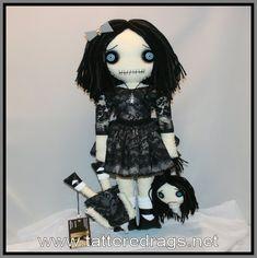 Ugly Dolls, Creepy Dolls, Diy Rag Dolls, Doll Tattoo, Creepy Art, Doll Hair, Black Leather Shoes, Lace Overlay, Hand Stitching